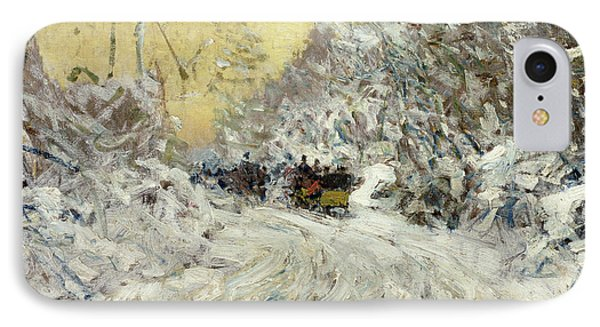 Sleigh Ride In Central Park Phone Case by Childe Hassam