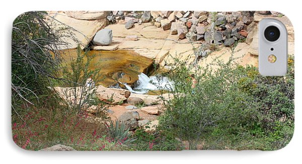 Slide Rock With Pink Wildflowers Phone Case by Carol Groenen