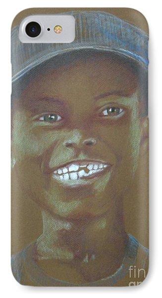 Small Boy, Big Grin -- Retro Portrait Of Black Boy IPhone Case by Jayne Somogy