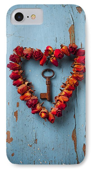 Small Rose Heart Wreath With Key IPhone Case by Garry Gay