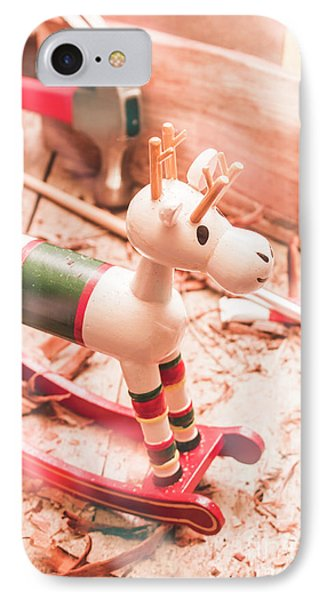 Small Xmas Reindeer On Wood Shavings In Workshop IPhone Case by Jorgo Photography - Wall Art Gallery