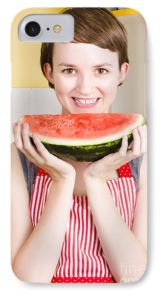 Smiling Young Woman Eating Fresh Fruit Watermelon IPhone Case by Jorgo Photography - Wall Art Gallery
