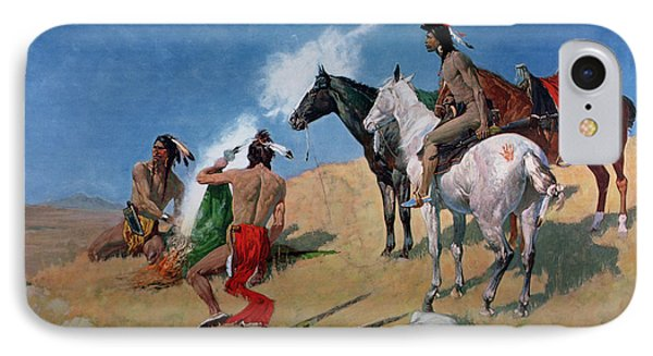 Smoke Signals IPhone Case by Frederic Remington