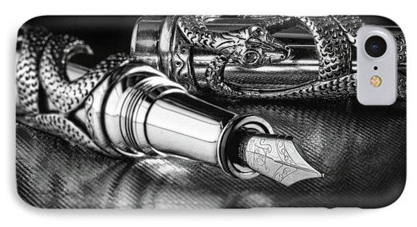 Snake Pen In Black And White IPhone 7 Case by Tom Mc Nemar