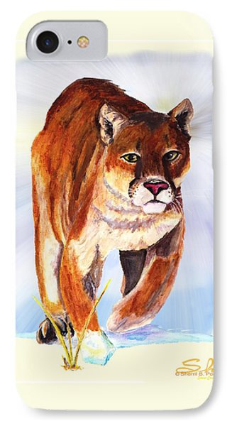 Snow Cougar Phone Case by Sherril Porter