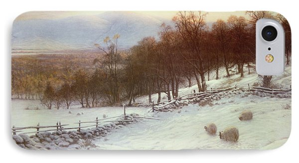 Snow Covered Fields With Sheep IPhone Case by Joseph Farquharson