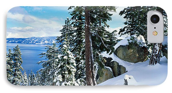 Snow Covered Trees On Mountainside IPhone Case by Panoramic Images