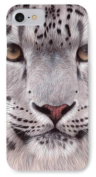 Snow Leopard Face IPhone Case by Rachel Stribbling