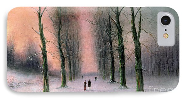 Snow Scene Wanstead Park   IPhone Case by Nils Hans Christiansen