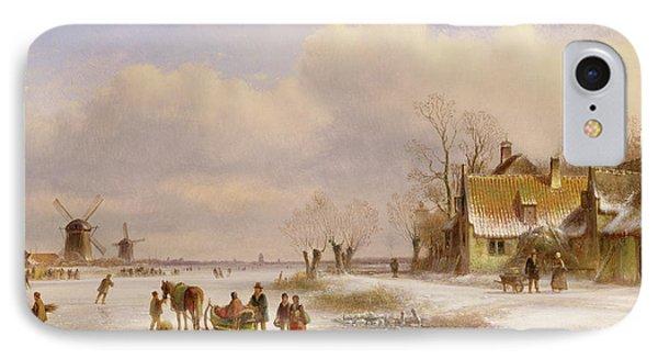 Snow Scene With Windmills In The Distance IPhone Case by Lodewijk Johannes Kleyn