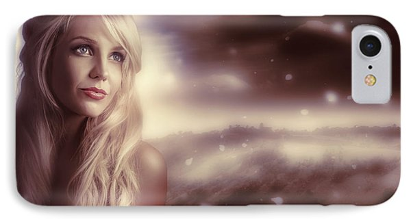 Soft Young Elegant European Woman In Winter Snow  IPhone Case by Jorgo Photography - Wall Art Gallery
