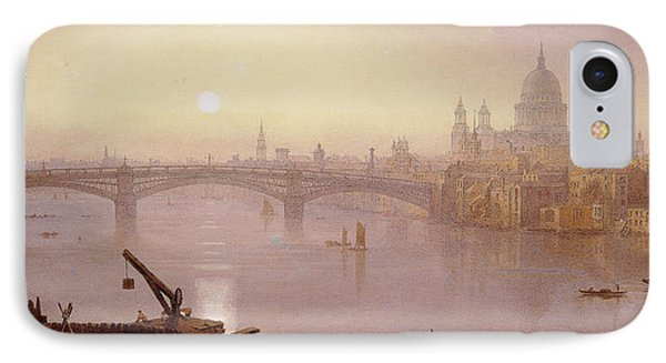 Southwark Bridge And St. Paul's Cathedral From London Bridge  Evening IPhone Case by George Fennel Robson