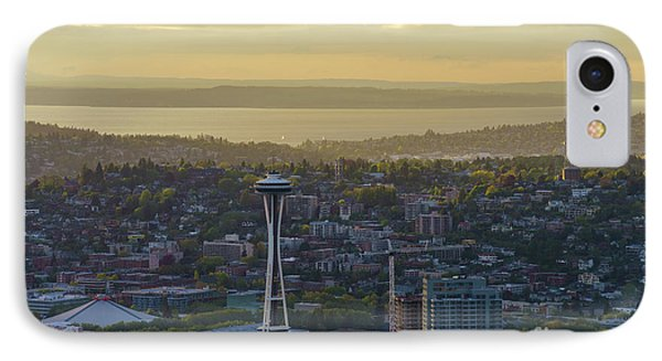 Space Needle And Queen Anne Golden Light IPhone Case by Mike Reid