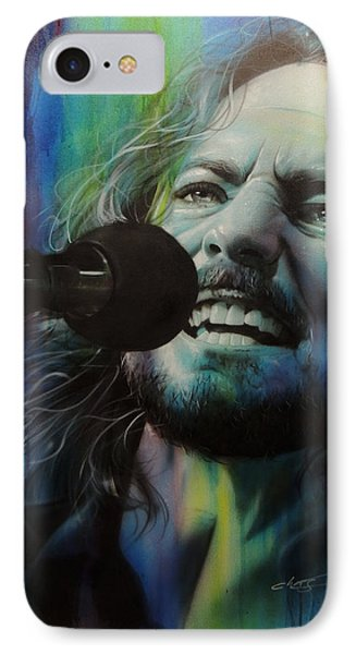 Eddie Vedder - ' Spectrum Of Vedder ' IPhone Case by Christian Chapman Art