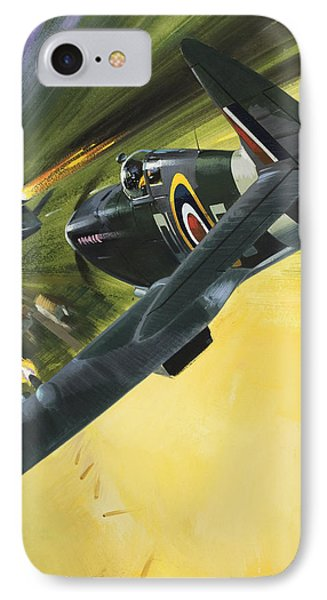 Spitfire And Doodle Bug IPhone 7 Case by Wilf Hardy