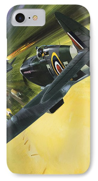 Spitfire And Doodle Bug IPhone Case by Wilf Hardy