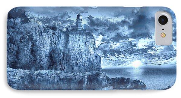 Split Rock Lighthouse Blue IPhone Case by Bekim Art