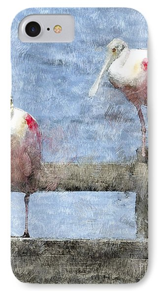 Spoonbills Hanging Out IPhone Case by Betty LaRue