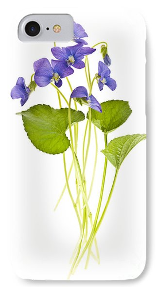 Spring Violets On White IPhone Case by Elena Elisseeva