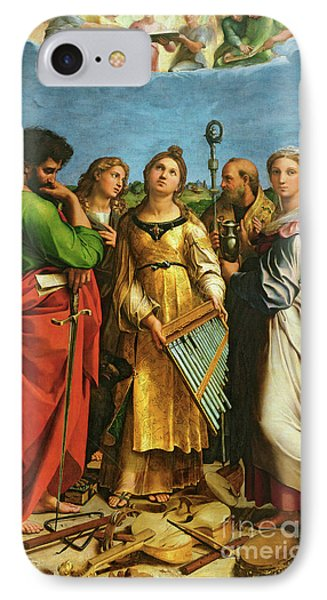 St Cecilia Surrounded By St Paul, St John The Evangelist, St Augustine And Mary Magdalene IPhone Case by Raphael