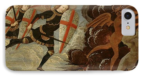 St. Michael And The Angels At War With The Devil IPhone Case by Domenico Ghirlandaio