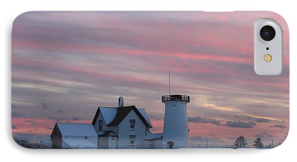Stage Harbor Lighthouse Cape Cod Winter Sunset IPhone Case by John Burk