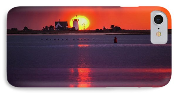 Stage Harbor Lighthouse In Chatham At Sunset IPhone Case by Dapixara Art