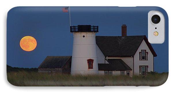 Stage Harbor Lighthouse Moonrise IPhone Case by John Burk