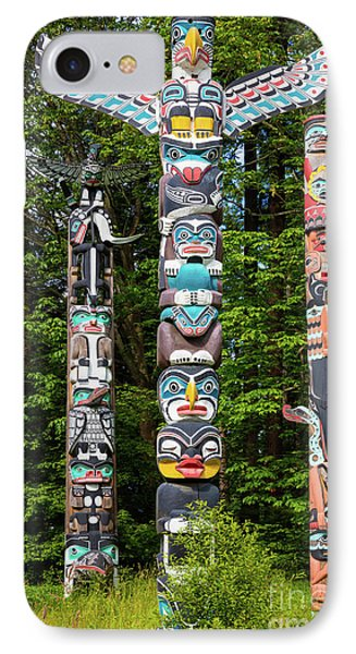 Stanley Park Totems IPhone Case by Inge Johnsson