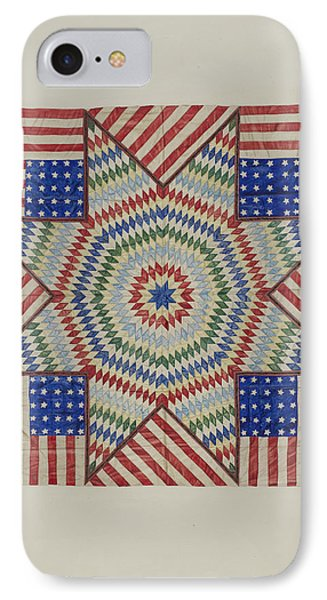 Star And Flag Design Quilt IPhone Case by Fred Hassebrock
