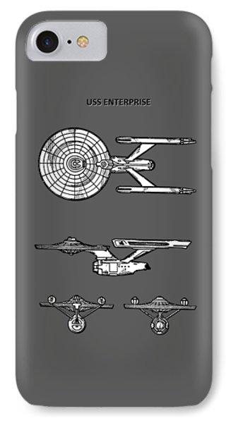 Star Trek - Uss Enterprise Patent IPhone Case by Mark Rogan