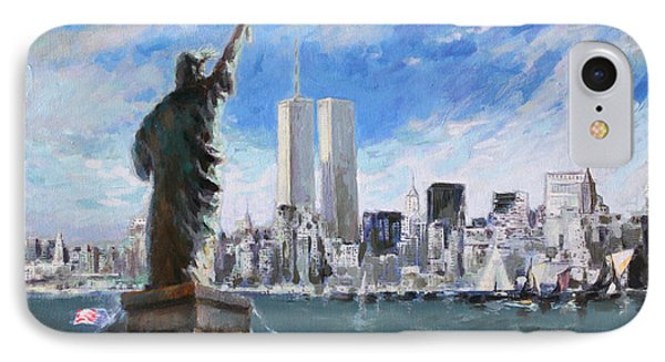 Statue Of Liberty And Tween Towers IPhone Case by Ylli Haruni