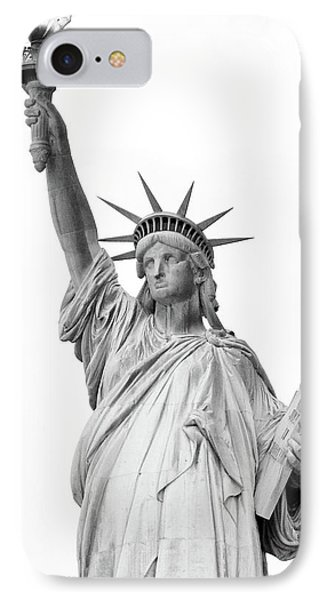 Statue Of Liberty, Black And White IPhone 7 Case by Sandy Taylor