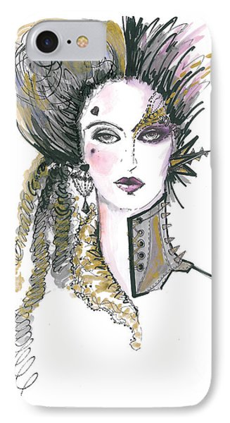Steampunk Watercolor Fashion Illustration IPhone Case by Marian Voicu