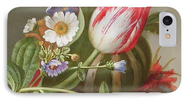 Still Life Of A Tulip, A Melon And Flowers On A Ledge IPhone Case by Rachel Ruysch