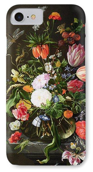 Still Life Of Flowers IPhone 7 Case by Jan Davidsz de Heem