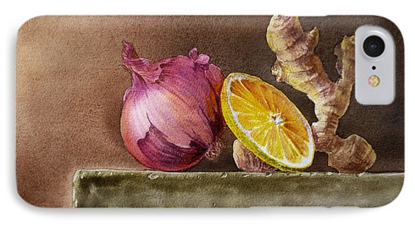 Still Life With Onion Lemon And Ginger IPhone Case by Irina Sztukowski