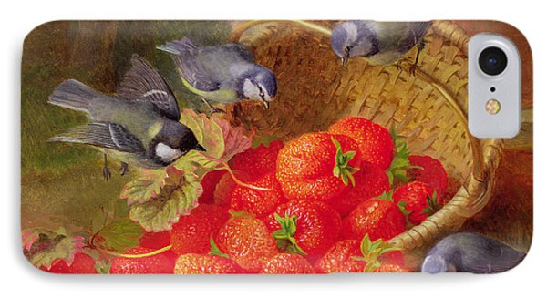 Still Life With Strawberries And Bluetits IPhone Case by Eloise Harriet Stannard