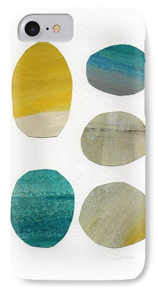 Stones- Abstract Art IPhone Case by Linda Woods