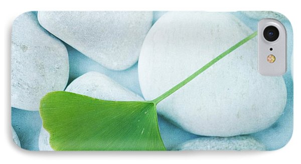 Stones And A Gingko Leaf Phone Case by Priska Wettstein
