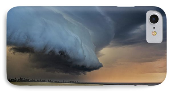 Storm Approaching Cape Tryon Lighthouse IPhone Case by Edward Fielding