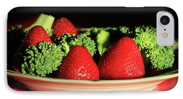 Strawberries And Broccoli IPhone Case by Lori Deiter