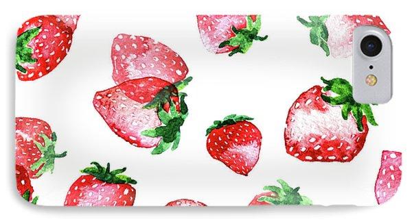 Strawberries IPhone 7 Case by Varpu Kronholm