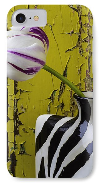 Striped Vase With Tulip IPhone Case by Garry Gay