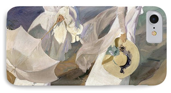 Strolling Along The Seashore IPhone Case by Joaquin Sorolla y Bastida