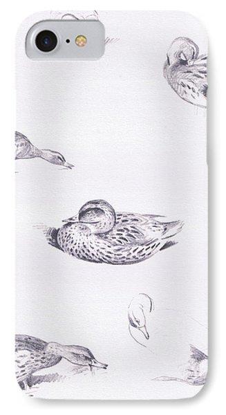 Studies Of Mallard Ducks IPhone Case by Archibald Thorburn