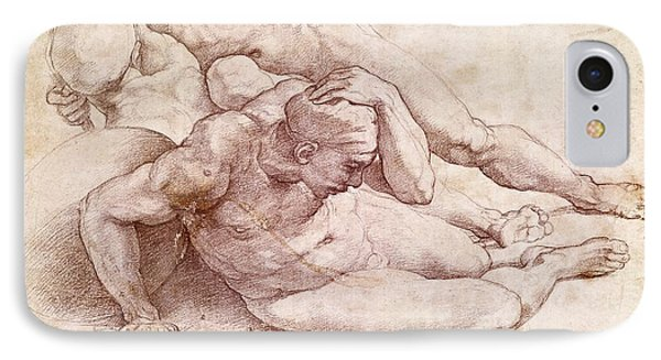 Study Of Three Male Figures IPhone Case by Michelangelo