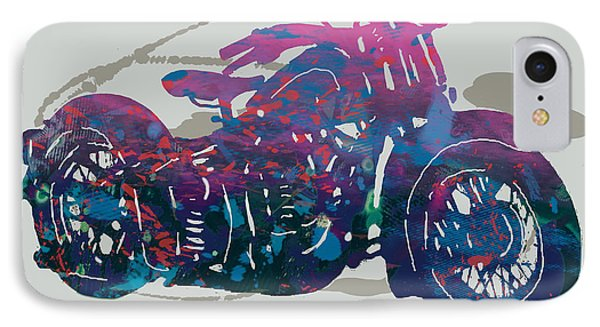 Stylised Motorcycle Art Sketch Poster - 1 IPhone Case by Kim Wang