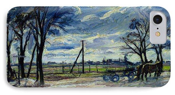 Suburban Landscape In Spring  IPhone Case by Waldemar Rosler