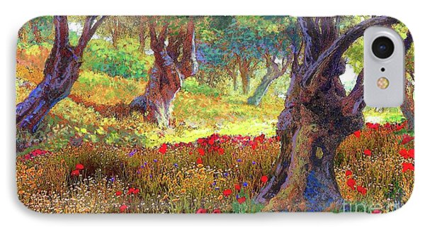Tranquil Grove Of Poppies And Olive Trees IPhone 7 Case by Jane Small